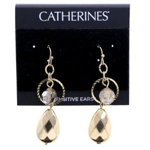 3/$20 Catherines gold dangle earrings with bead